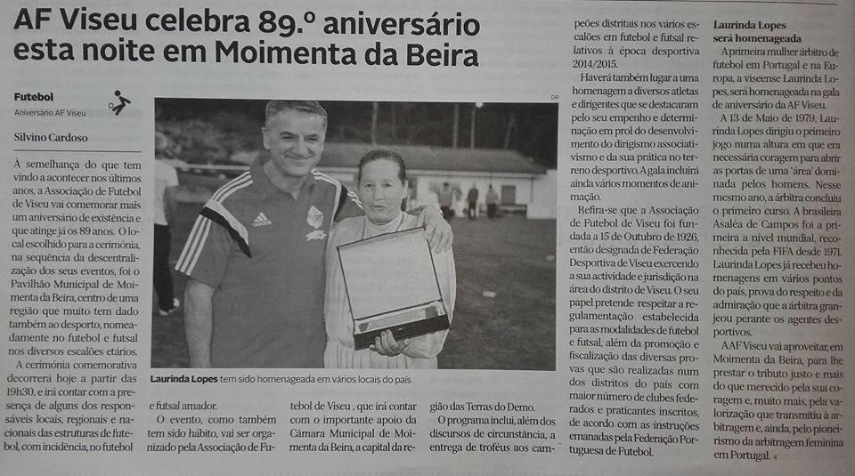 Diário de Viseu homenagem árbitro Laurinda Lopes
